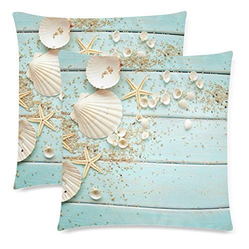 InterestPrint Wooden with Seashell Starfish Nautical Decor Throw Pillowcase Pillow Case 18x18 Twin Sides for Couch Bed, Ocean Sea Shell Zippered Cushion Pillow Cover Shams Decorative, Set of (Decorative Seashell)