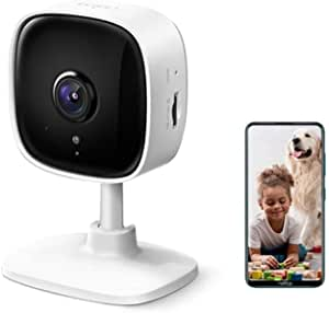 TP-Link Tapo Home Security Wi-Fi Camera - 1080p, Night Vision, Sound & Light Alarm, 2-Way Audio, 24/7 Live View, Voice Control, Tapo APP, Alexa, Google Assistant, 128GB microSD Support (Tapo C100)