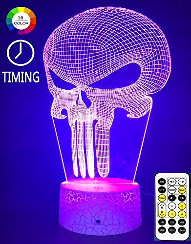 Lmeison Night Lights for Kids, Punisher 3D Nightlight Illusion Lamp LED Desk Table Lamp with Remote Control, 9 LED 16 Colors Change, Best Christmas Halloween Birthday Gift for Child Baby Boys