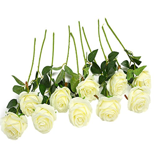 JUSTOYOU 10pcs Artificial Rose Silk Flower Blossom Bridal Bouquet for Home Wedding Decor(White) White Roses Wedding Bouquet