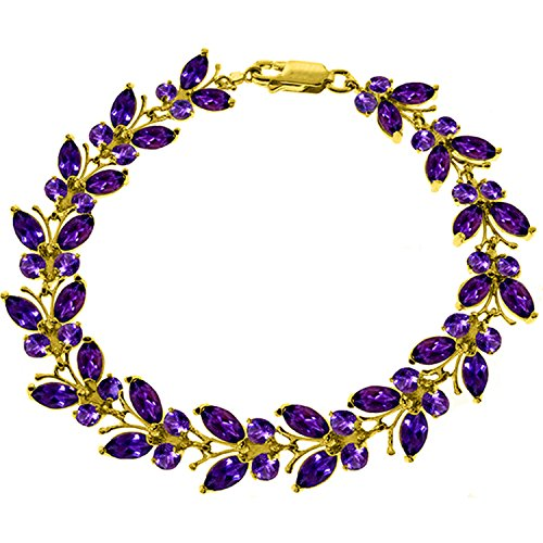 16.5 CTW 14K Solid Gold Butterfly Bracelet Amethyst by Galaxy Gold