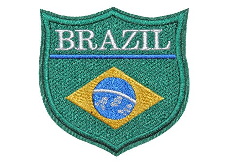 "World Flags Embroidered Patch Shield (3"" x 3"") 100% Made in USA (Brazil)"