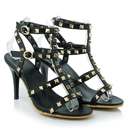 ALBOC Femmes Roman Chaussures Rivet Peep Toe Haute Strappy Pompes Sandales Boucle De Mariage Robe De Soirée Stiletto Slip Sur Chaussures Noir kKx4u