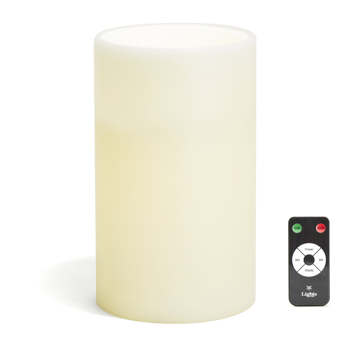 Amazoncom Large Ivory Wax Flameless Pillar Candle With Remote, 6X10,