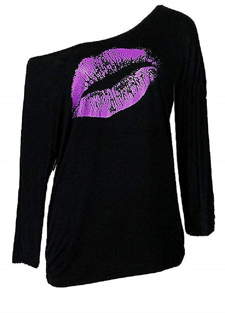 Smile Fish Damen Casual Sternchen Lippen Drucken One-Shoulder T-Shirt Langarm Rundhals Oversize Pullover 80s Tops