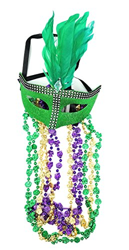 Feathered Plastic Gem Carnival Mardi Gras Eye Mask With 5 Multicolored Metallic 32
