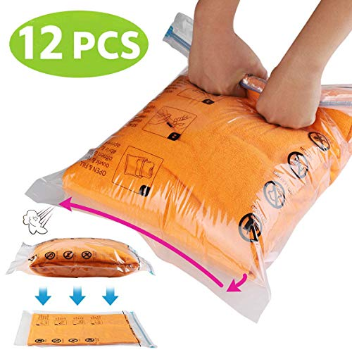 Jancosta 12 Travel Space Saver Bags For Clothes, Roll-Up Space Saver Storage Bags for Travel, Save Space In Your Luggage, 6M+6S Set