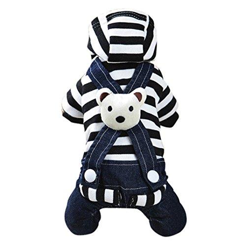 vmree Dog Apparel, Small Pet Dog Cat Puppy Dress Strap Denim Skirt Clothes Apparels (XS, Black-B)