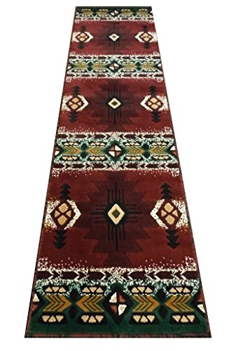 South West Native American Runner Rug Design # C318 Burgundy (2 Feet X 7 Feet)