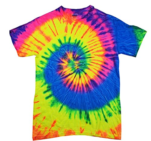 100% Cotton Colorful Tie Dye Vibrant Shirt, Neon Rainbow, 4XL