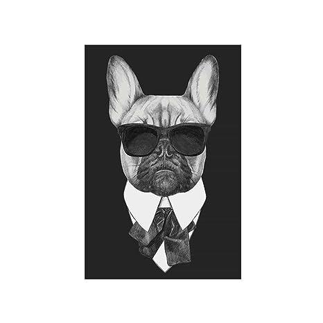 Pintura Gafas Oscuras Traje Pintura Al óleo Negro Dibujo Aceite Perro Imagen Animal Arte De La Casa Cartel De La Pared De La Lona Imagen De Pared