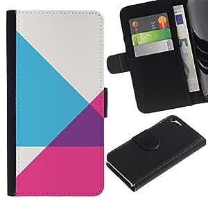 WINCASE Cuadro Funda Voltear Cuero Ranura Tarjetas TPU Carcasas Protectora Cover Case Para Apple Iphone 5 / 5S - púrpura gris rosa patrón abstracto