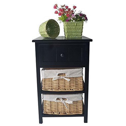 FCH Night Side Table 3-Tier Wood Nightstand End Table with Drawer&Basket(Black)