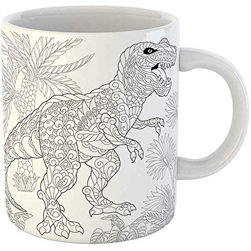 - Coffee Tea Mug Gift 11 Ounces Funny Ceramic Tyrannosaurus Rex Dinosaur of the Late Cretaceous Period Freehand Sketch Gifts For Family Friends Coworkers Boss Mug