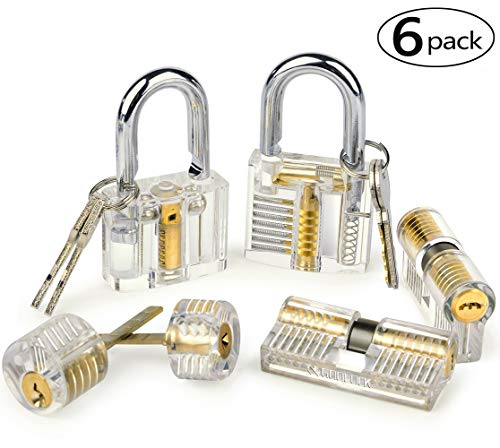 6pcs Practice Lock Set OKPOW Lock Set Crystal Visible Cutaway Common Lock Types for Locksmith Training Different Types of Padlock by OKPOW