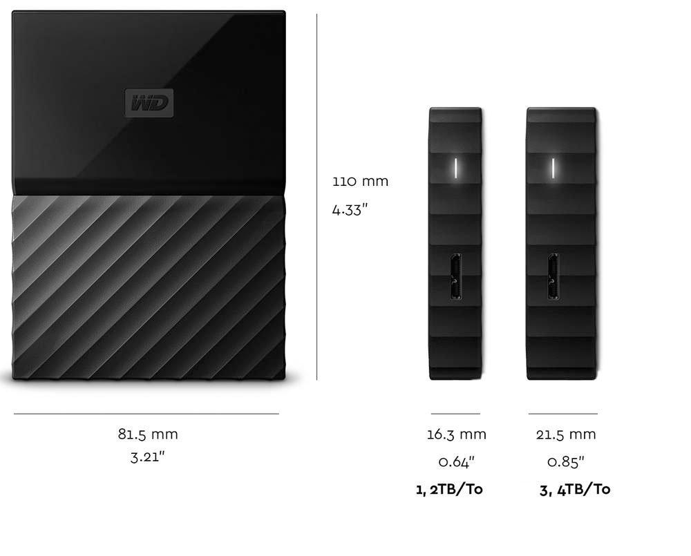 WD 1TB Blue My Passport/ Portable External Hard Drive USB 3.0 WDBYNN0010BBL-WESN