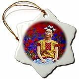 3dRose Uta Naumann Watercolor Illustration - Frida- Free Artistic Adaptation of the Mexican Paintress - 3 inch Snowflake Porcelain Ornament (orn_266910_1)