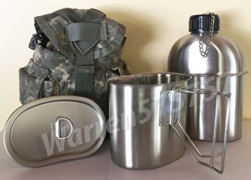 BRAND NEW MILITARY STYLE STAINLESS STEEL CANTEEN WITH CUP, 1.3LITER (44oz.) AND LID WITH Genuine G.I. Surplus, ACU MOLLE II Pouch KIT. by G.A.K