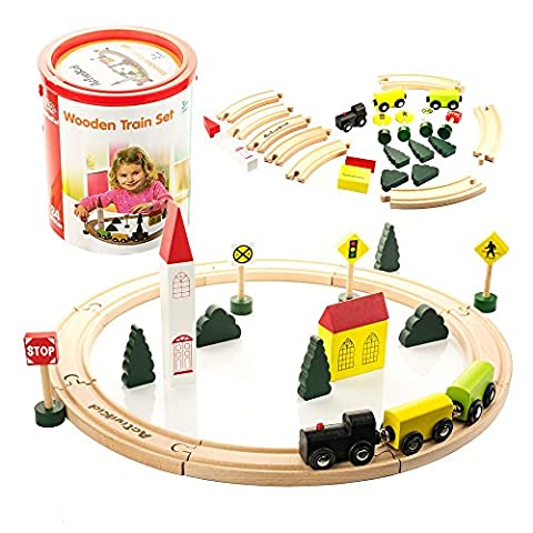 ActiviKid Wooden Train Set | Early Learning Toys for Kids | 24-piece Small, Trains, Tracks, Colorful City with Caboose, Cars, Trees, Buildings, Tracks, Signs | Includes Storage - Hand Painted Train Toy