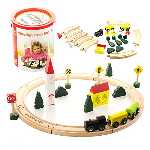 Wooden Toy Train Plans (ActiviKid Wooden Train Set | Early Learning Toys for Kids | 24-piece Small, Trains, Tracks, Colorful City with Caboose, Cars, Trees, Buildings, Tracks, Signs | Includes Storage Container)