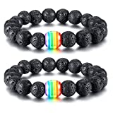Nanafast LGBT Pride Relationship Rainbow Bracelet Lava Rock/Tiger Eye Stone Bead Bracelets For Gay Lesibian Black 2 Pcs