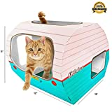 Coolest Cat Playhouse for Cats by Kitty Camper - Stylish Cardboard Toys Designed to Entertain - Use as a Scratcher Lounge, Toy or Bed. Kittens also Love the Condo Towers - Bonus eBook