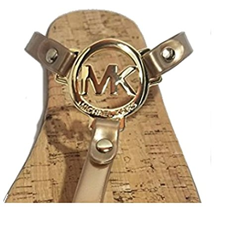 Michael Kors MK Charm Jelly Flip Flop Cork Bottom, Gold, Size 7