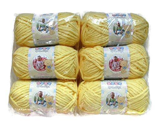 BERNAT Baby Blanket Yarn, 3.5oz, 6-PACK (Baby Yellow) (Super Bulky Yellow Yarn)
