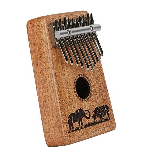 Kalimba Mbira Sanza 10 Keys Thumb Piano Portable Pocket Size Beginners Friendly Solid Finger Piano Mahogany Body Ore Metal Tines with Cruved Elephant and Rhinoceros by WANDIC