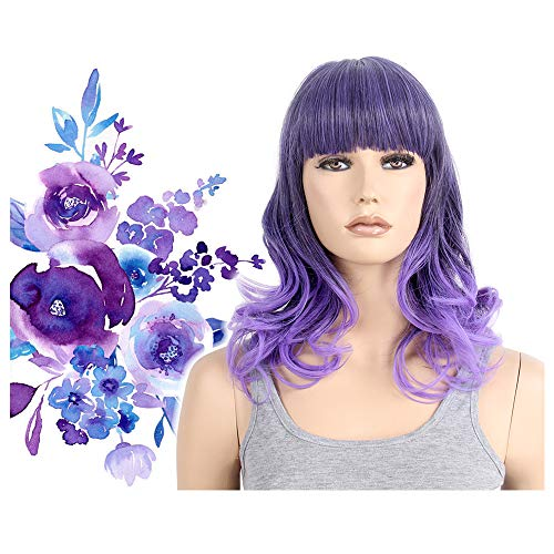 Pastel Purple Ombre Wig Two Tone Halloween Costume