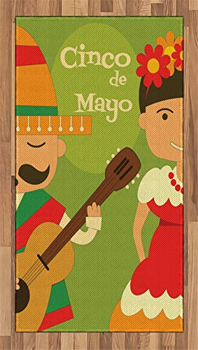 Cinco De Mayo Area Rug Hispanic Couple Wearing