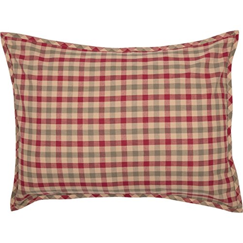 VHC Brands Seasonal Bedding Jonathan Plaid Tan Sham, Standard, ()