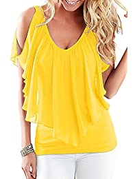 Women Summer Hot Off Shoulder V Neck Ruffles Tunic T Shirt Top Tee
