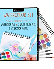 Kassa Beginner Watercolor Set - Bundle Includes Water Brush Pens (3 Assorted Sizes), Painting Pad (30 Sheets) & Paint Pan (21 Watercolors) - Watercolour Art Supplies Starter Kit for Kids & Adults