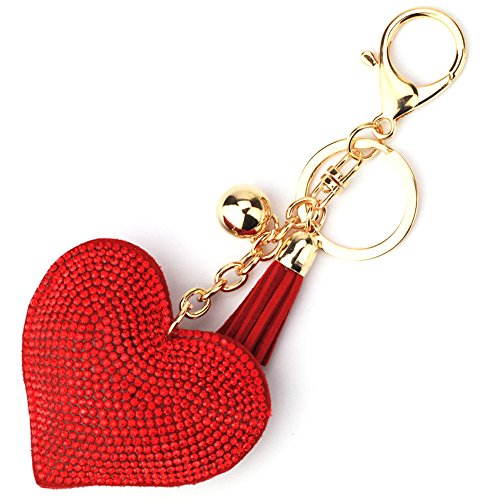 Elesa Miracle Girl Women Love Heart Tassel Keychain, Purse Bag Charm, Handbag Accessories, Car Key Chain (Red)