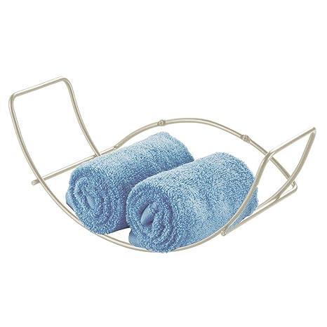 MetroDecor mDesign Toallero de Pared para baño – Balda para baño de Metal – Estantería metálica
