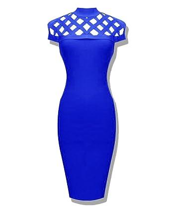 e40dec409442 Whoinshop Women's High Neck Lattice Bodycon Midi Bandage Dress (XS, Blue)