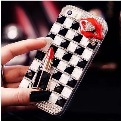 Red Rhinestone Kiss - Luxury Crystal Rhinestone Bling grids back Cover DIY red lip kiss lipstick phone case for iphone for samgung Red iPhone X