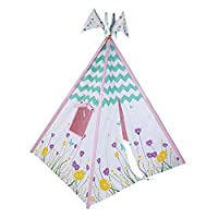 """Pacific Play Tents 39612 Kids Wild Flowers Cotton Canvas Teepee Playhouse Tent - 45"""" x 45""""x 64"""""""