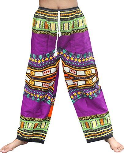 Raan Pah Muang RaanPahMuang Baggy Straight Leg Carnival Dashiki Print Unisex Pants Africa Print, X-Large, Purple by Raan Pah Muang