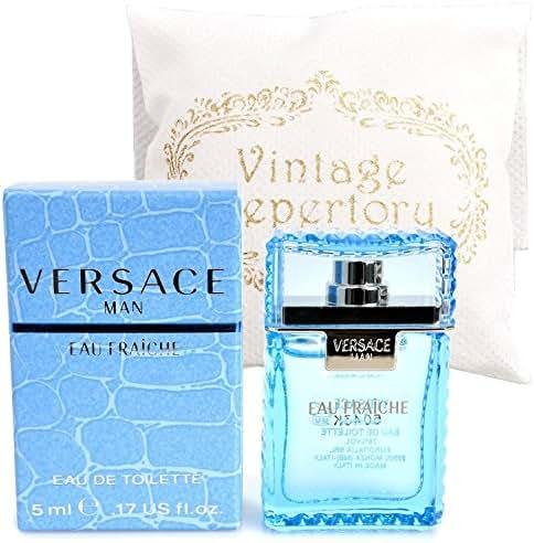 Original Versace Man Eau Fraiche Eau De Toiltte EDT 5ml 0.17oz Cologne for Men Homme Perfume Miniature Mini Parfum Collectible Bottle New In Box