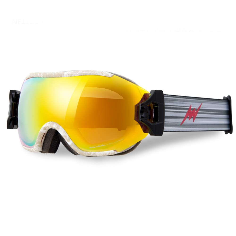 Yellow texture orange Ski Goggles Ski Goggles - TPU PC, Double Anti-Fog, Impact Resistant, Adjustable Elastic Strap, Can Be Brought Into Myopia Glasses, Adult General Professional Skiing and Mountaineering Large Spherical