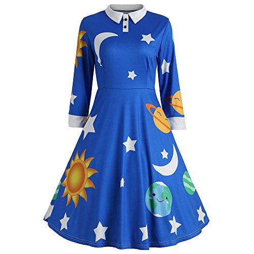 CharMma Women's Vintage Peter Pan Collar Planet Print A Line Flare Party Dress (Blue, L)