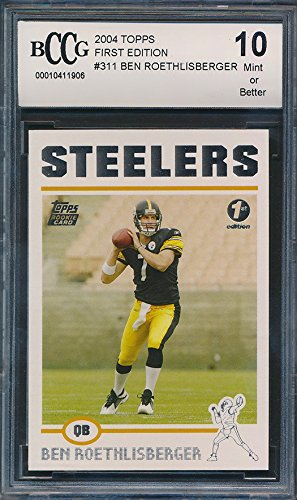 - 2004 Topps First Edition #311 Ben Roethlisberger Rookie Card Graded BCCG 10