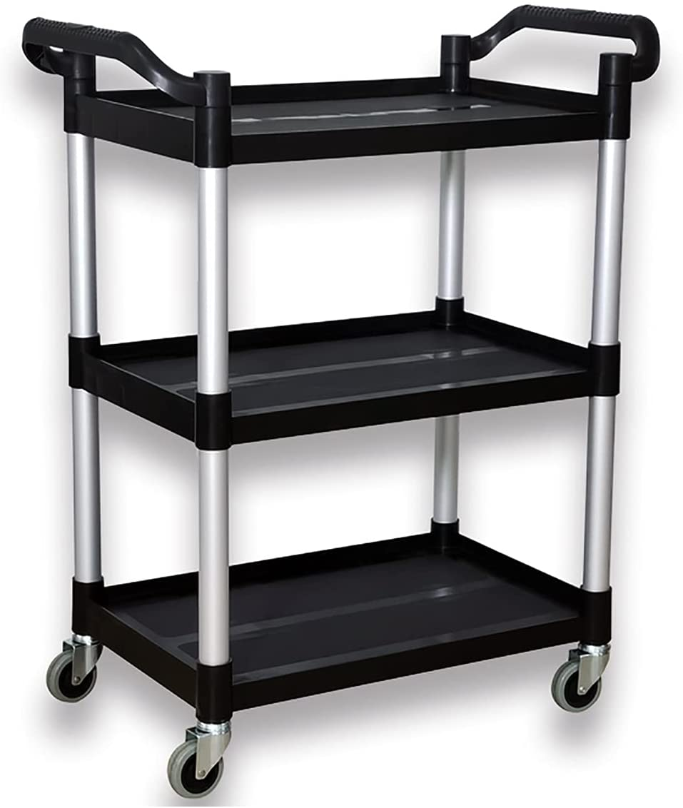 Plastic Push Cart Heavy Duty 390 Lbs Capacity Utility Cart,3-Tier Rolling Cart, Black Service Cart for Foodservice,Restaurant,Cleaning,Office, Warehouse, (31.5''l X 16.9''w X 37.8''h)