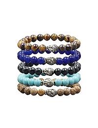OVALBUY Set of Multiple Stone Beads Bracelet Yoga Reiki Mala Prayer Beads - Pack of 5