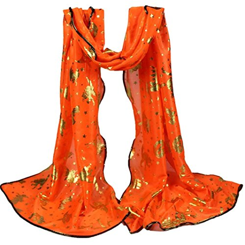 Mysky Women Halloween Pumpkin Print Scarf Long Soft Wrap Shawl Bronze Bat Stole Scarves -