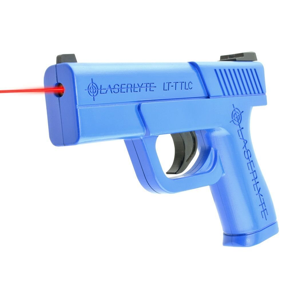 LaserLyte Laser Trainer Pistol Compact GLOCK 43 familiar size weight and feel RESETTING TRIGGER at 5.5 lb is ready to shoot after every pull FIRES a laser dot when REAL GUN SIGHTS for training by LaserLyte