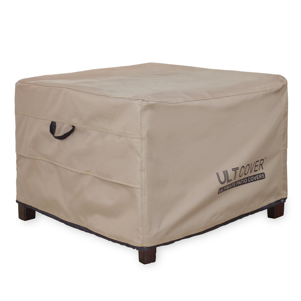 ULTCOVER Waterproof Patio Ottoman Cover Square Outdoor Side Table Furniture Covers Size 32L x 32W x 20H inch