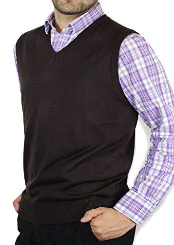 Blue Ocean Solid Color Sweater Vest-Medium Brown